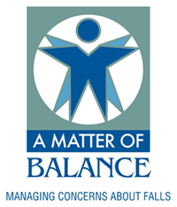 Logo for the Matter of Balance tagline with a blue outline of a person over a green background and the tagline Managing Concerns About Falls
