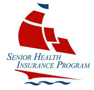 Icon for the Senior Health Insurance Program that shows a red ship sailing on blue water