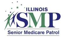 Logo for the Illinois Senior Medicare Patrol program showing two people stretching with stars above them